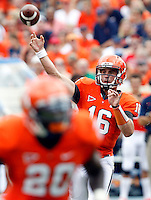 Virginia Cavaliers quarterback Michael Rocco (16) throws the ball during the first half of the NCAA football game against the Richmond Spiders Saturday September, 1, 2012 at Scott Stadium in Charlottesville, Va.