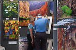Festivalgoers examine artwork at the 34th Annual Los Altos Arts & Wine Festival July 13.