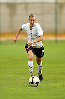 Heather Mitts advances the ball. The USA defeated Norway 2-1 at Olhao Stadium on February 26, 2010 at the Algarve Cup.