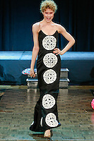 Model walks runway in an outfit by American designer of Slovak origin Lucy Racek, during Slovak Fashion Night 2012 in New York City May 11, 2012.