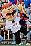 23 September 2007: Washington Nationals  Presidential Mascot Teddy Roosevelt finally makes it into the stadium for the very last mascot race at Robert F. Kennedy Memorial Stadium in Washington, DC. The Nationals defeated the visiting Philadelphia Phillies 5-3 to close out the 2007 home season. The Nationals will open up the 2008 season at Nationals Park, their new facility currently under construction.. .Mandatory Photo Credit: Ed Wolfstein Photo