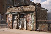 Brooklyn, NY - 26 March 2008 - Graffiti covered shack in the industrial part of Bushwick