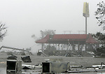 Much of Biloxi Mississippi was extremely damage by Hurricane Katrina August 29, 2005 like this gulf front resturant that was gutted by the category 4 storm.