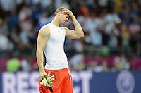 FUSSBALL  EUROPAMEISTERSCHAFT 2012   HALBFINALE Deutschland - Italien              28.06.2012 Torwart Manuel Neuer (Deutschland) ist nach dem Abpfiff enttaeuscht