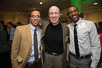 Mena Bakhit, from left, Bill Hopkins, M.D., Nkem Aziken. Class of 2013 dinner.