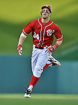 19 September 2012: Washington Nationals rookie outfielder Bryce Harper hustles to third during a game against the Los Angeles Dodgers at Nationals Park in Washington, DC. The Nationals defeated the Dodgers 3-1 in the first game of their double-header. Mandatory Credit: Ed Wolfstein Photo