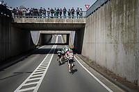 early breakaway group speeding towards the Moeren<br /> <br /> 79th Gent-Wevelgem 2017 (1.UWT)<br /> 1day race: Deinze &rsaquo; Wevelgem - BEL (249km)