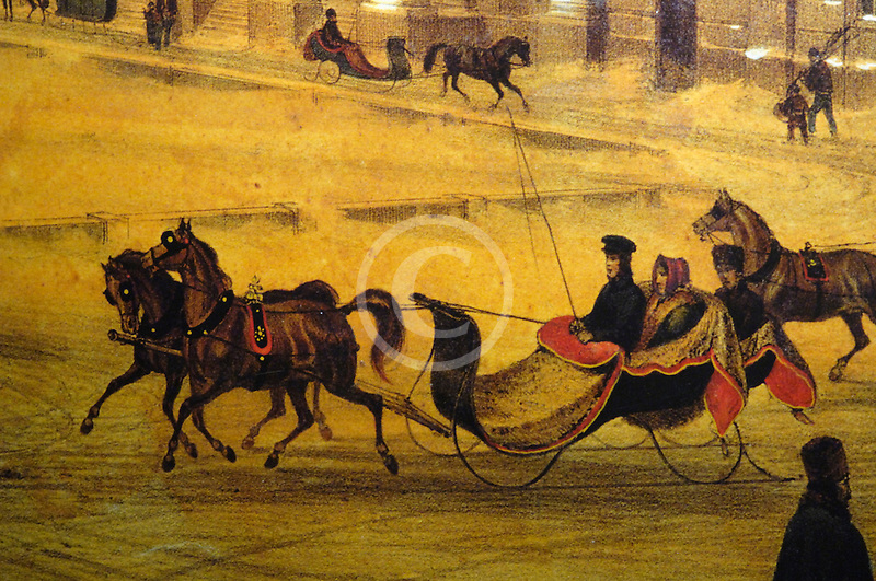 Canada, Montreal, Painting of horse and sleigh