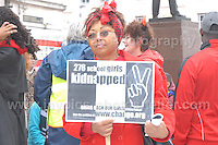 A supporter at the rally.<br /> <br /> Cardiff, South Wales. Sunday May 11th 2014. Nigerians in Cardiff in organised rally in support of the 276 abducted school children in Chibok, Nigeria by Boko Haram terrorists. <br /> <br /> Photo by Jeff Thomas/Jeff Thomas Photography