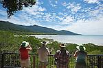 Tourists at the Cape Tribulation lookout.  Daintree National Park, Queensland, Australia