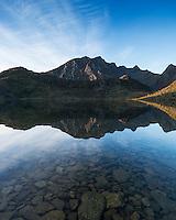 Reflection of Himmeltindan mountain peak in Vikvatnet lake, Vestvågøy, Lofoten Islands, Norway
