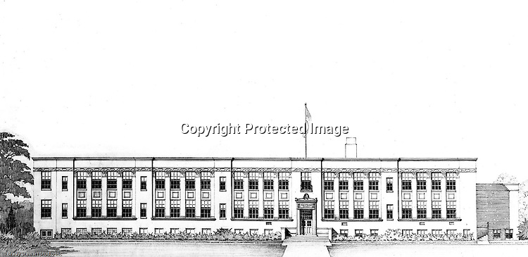 Pittsburgh PA:  View of an Ingham and Boyd Architect's rendering of the Markham Elementary School in Mt Lebanon PA  - 1946.