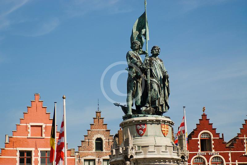Belgium, Bruges, Statue of Jan Breydel and Pieter de Coninck, Market Square, Brugge Markt