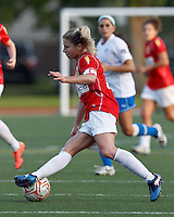Western New York midfielder McCall Zerboni (7) dribbles. In a Women's Premier Soccer League Elite (WPSL) match, the Boston Breakers defeated Western New York Flash, 3-2, at Dilboy Stadium on May 26, 2012.