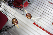 Lorenzo Brown face masks, student section, PNC Arena, Raleigh, NC, Jan. 12, 2013.