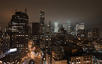 Downtown at night, seen from the roof of the James New York Hotel, Grand St, SoHo, Manhattan, New York, New York, USA. Picture by Manuel Cohen