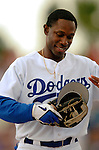 19 March 2006: Kenny Lofton, outfielder for the Los Angeles Dodgers, returns to the dugout during a Spring Training game against the Washington Nationals at Holeman Stadium, in Vero Beach, Florida. The Dodgers defeated the Nationals 9-1 in Grapefruit League play...Mandatory Photo Credit: Ed Wolfstein Photo..
