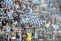 KANSAS CITY, KS - June 1, 2013:<br /> Sporting KC fans waving flags.<br /> Montreal Impact defeated Sporting Kansas City 2-1 at Sporting Park.