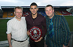 St Johnstone Player of the Year Awards...04.05.13.We Are Perth Forum Young Player of the Year Award went to Mehdi Abeid presented by Andrew and Peter Holden.Picture by Graeme Hart..Copyright Perthshire Picture Agency.Tel: 01738 623350  Mobile: 07990 594431