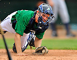 17 June 2008: Vermont Lake Monsters catcher Ricky Nolan takes pre-game drills prior to Opening Day against the Oneonta Tigers at historic Centennial Field in Burlington, Vermont. The Lake Monsters defeated the Tigers 6-4 in the first game of their three-game season opening series in Vermont...Mandatory Credit: Ed Wolfstein Photo