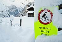 No sledding sign in 3 languages, Gimmelwald, Switzerland