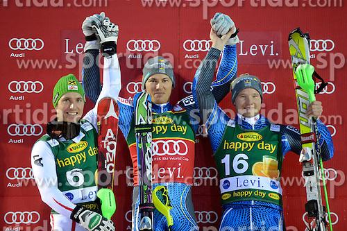 11.11.2012, Levi Black, Levi, FIN, FIS Ski Alpin Weltcup, Slalom, Herren, Podium, im Bild v.l.n.r. Marcel Hirscher (AUT, Platz 2), Andre Myhrer (SWE, Platz 1), Jens Byggmark (SWE, Platz 3) // f.l.t.r. 2nd place Marcel Hirscher of Austria, 1st place Andre Myhrer of Sweden and 3th place Jens Byggmark of Sweden celebrtates on podium after mens Slalom of FIS ski alpine world cup at Levi Black course in Levi, Finland on 2012/11/11. EXPA Pictures © 2012, PhotoCredit: EXPA/ sportbild.se/ Nisse Schmidt..***** A11ENTION - OUT OF SWE *****