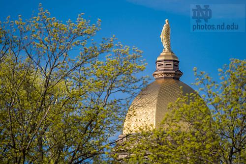 April 18, 2017; Main Building in spring (Photo by Matt Cashore/University of Notre Dame)