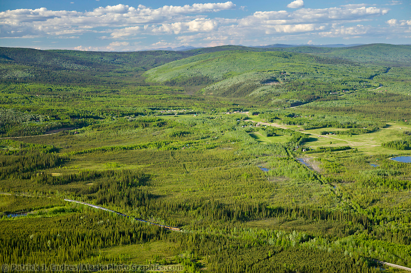 Aerial view of the Alaska Railroad as it travels just outside of Fairbanks through the Goldstream Valley.