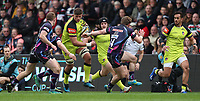 Leicester Tigers&rsquo; Mike Williams tackled by Matt Jess <br /> <br /> Photographer Rachel Holborn/CameraSport<br /> <br /> Anglo-Welsh Cup Final - Exeter Chiefs v Leicester Tigers - Sunday 19th March 2017 - The Stoop - London<br /> <br /> World Copyright &copy; 2017 CameraSport. All rights reserved. 43 Linden Ave. Countesthorpe. Leicester. England. LE8 5PG - Tel: +44 (0) 116 277 4147 - admin@camerasport.com - www.camerasport.com