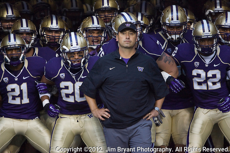 Washington's Huskies wait to enter the field with head coach Steve Sarkisian in a college football game against San Diego State at CenturyLink Field in Seattle, Washington on September 1, 2012  The Huskies beat the Aztecs 21-12.  © 2012. Jim Bryant Photo. All Rights Reserved.