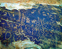 Petroglyphs, Arches National Park, Utah, Ancient Native American rock art, Rock art carved on inacessible cliff