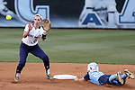 25 April 2016: North Carolina's Destiny DeBerry (22) steals second base, beating the throw to Notre Dame's Morgan Reed (20). The University of North Carolina Tar Heels hosted the University of Notre Dame Fighting Irish at Anderson Stadium in Chapel Hill, North Carolina in a 2016 NCAA Division I softball game. UNC won the game 7-6.