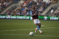 Nathan Delfouneso of Aston Villa reacts to an offside's call during a match between Aston Villa FC and Philadelphia Union at PPL Park in Chester, Pennsylvania, USA on Wednesday July 18, 2012. (photo - Mat Boyle)