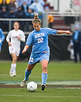 North Carolina defender Amber Brooks (22) strikes the ball. North Carolina defeated Stanford 1-0 to win the 2009 NCAA Women's College Cup at the Aggie Soccer Stadium in College Station, TX on December 6, 2009.