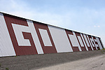 """GO COUGS"" sign painted on a barn along side highway 26 between Othello, Washington, and Washtucna, Washington, in Eastern Washington."