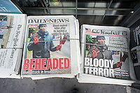 Front pages of the NY Daily News and the NY Post on Thursday, May 23, 2013 report on the previous days murder of a British soldier on the street in London in broad daylight by alleged Islamic jihadists.  (© Richard B. Levine)