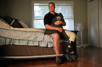 Portrait shoot with Wounded Warrior Mike Pocius at his home in Little Falls, NJ,  June 13, 2008.<br /> Pocius lost his left leg when an IED struck his Humvee July 27, 2006 while serving as a  Navy corpsman with the 3rd Battalion, 8th Marines.