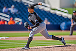 1 March 2017: Miami Marlins pitcher Dustin McGowan on the mound during Spring Training action against the Houston Astros at the Ballpark of the Palm Beaches in West Palm Beach, Florida. The Marlins defeated the Astros 9-5 in Grapefruit League play. Mandatory Credit: Ed Wolfstein Photo *** RAW (NEF) Image File Available ***