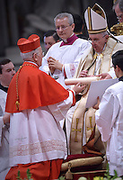 Cardinal Ricardo Blazquez Perez, archbishop of Valladolid, Spain,Pope Francis,during a consistory for the creation of new Cardinals at St. Peter's Basilica in Vatican.February 14, 2015
