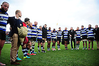 The Bath Rugby team huddle together after the match. Aviva Premiership match, between Bath Rugby and Saracens on December 3, 2016 at the Recreation Ground in Bath, England. Photo by: Patrick Khachfe / Onside Images