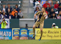 Philadelphia Union defender Jordan Harvey (2) clears a ball from the box. The Philadelphia Union and CD Chivas USA played to 1-1 draw at Home Depot Center stadium in Carson, California on Saturday evening July 3, 2010..