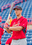 7 March 2015: St. Louis Cardinals outfielder Stephen Piscotty awaits his turn in the batting cage prior to a Spring Training game against the Washington Nationals at Space Coast Stadium in Viera, Florida. The Cardinals fell to the Nationals 6-5 in Grapefruit League play. Mandatory Credit: Ed Wolfstein Photo *** RAW (NEF) Image File Available ***