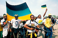 ANC (African National Congess) supporters celebrate shortly after the release of Nelson Mandela.
