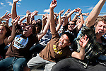 09/17/2011 - Medford/Somerville, Mass.  Fans cheer on the Tufts Women's Soccer during the match against Wesleyan on Saturday, September 17, 2011.  (Alonso Nichols/Tufts University)