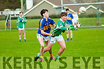 Ballydonghue's Michael Dee get to the ball ahead of St. Senan's Padraigh Logue in their minor North Kerry Championship semi Final in Duagh on Friday last.