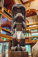 A wood carving of the Hawaiian deity Ku on display at the Bishop Museum, Honolulu, O'ahu.