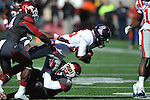 Ole Miss wide receiver Ja-Mes Logan (85) vs. Arkansas safety Rohan Gaines (26) and Arkansas safety Eric Bennett (14) at War Memorial Stadium in Little Rock, Ark. on Saturday, October 27, 2012. Ole Miss won 30-27...