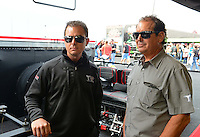 Sept. 30, 2012; Madison, IL, USA: NHRA top fuel dragster driver Steve Torrence (left) with father Billy Torrence during the Midwest Nationals at Gateway Motorsports Park. Mandatory Credit: Mark J. Rebilas-