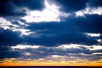 Sunset in the Atlantic Ocean in the Caribbean.