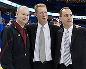 John Hegarty (BC - Dir-Hockey Ops), Greg Brown (BC - Assistant Coach), Mike Cavanaugh (BC - Associate Head Coach) - The Boston College Eagles celebrate their national championship win in the 2012 Frozen Four on Saturday, April 7, 2012, at the Tampa Bay Times Forum in Tampa, Florida.